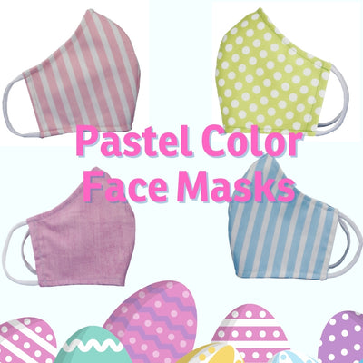 Pastel color face masks, washable cotton face mask in adult size large, with filter pocket, made in USA by The Cat Ball, LLC