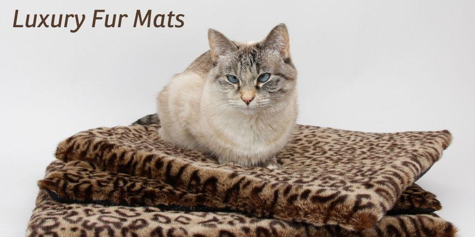 Luxury cat sleeping mat made in beautiful faux fur with a cotton backing
