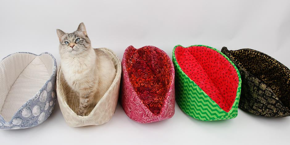 Cat Canoe in realistic strawberry fabric