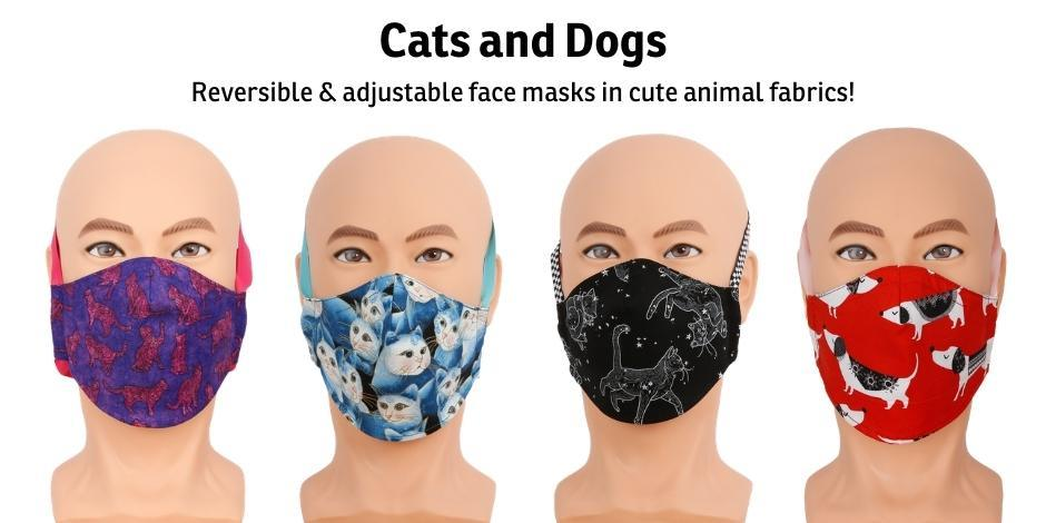 Reversible and adjustable face masks made in cute cat and dog fabrics