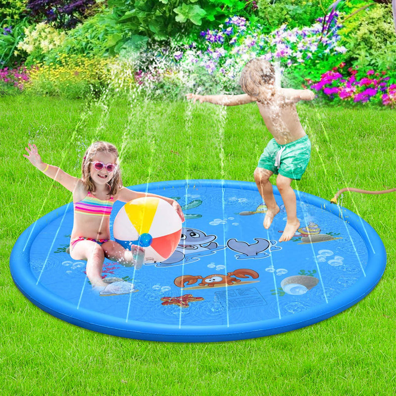 Durable Children's Water Spray Pool Mat Splash Sprinkle Play Pad Mat (Blue) - Direct Dropship