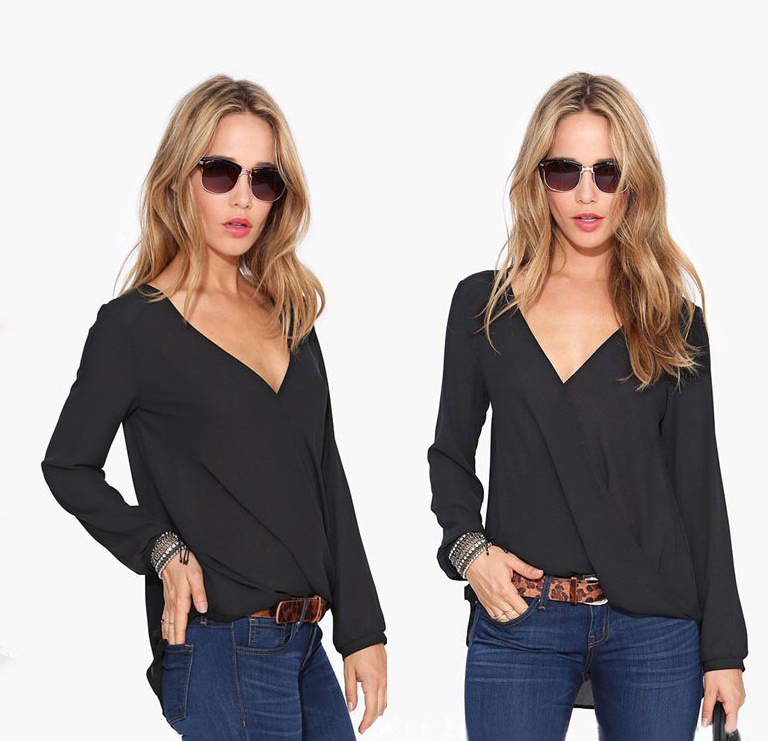 New women's European and American long-sleeved V-neck large size long-sleeved chiffon shirt - Direct Dropship