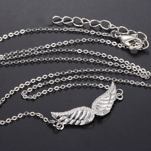 Angel Wing Necklace Clavicle Chain (Silver) - Direct Dropship