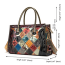 Contrast leather cowhide patent leather bag - Direct Dropship