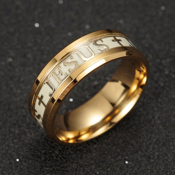 stainless steel luminous ring glow jesus gold silver jewelry cross rings - Direct Dropship