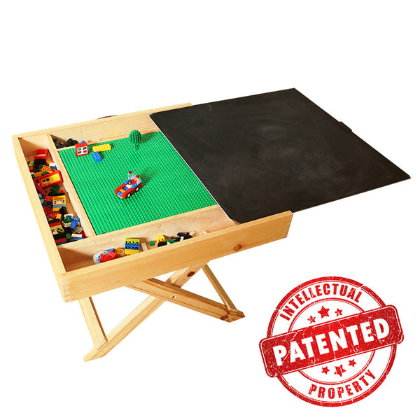 Lego Table With Storage Play Folding Custom Made Wooden Chalkboard Kids Children - Direct Dropship