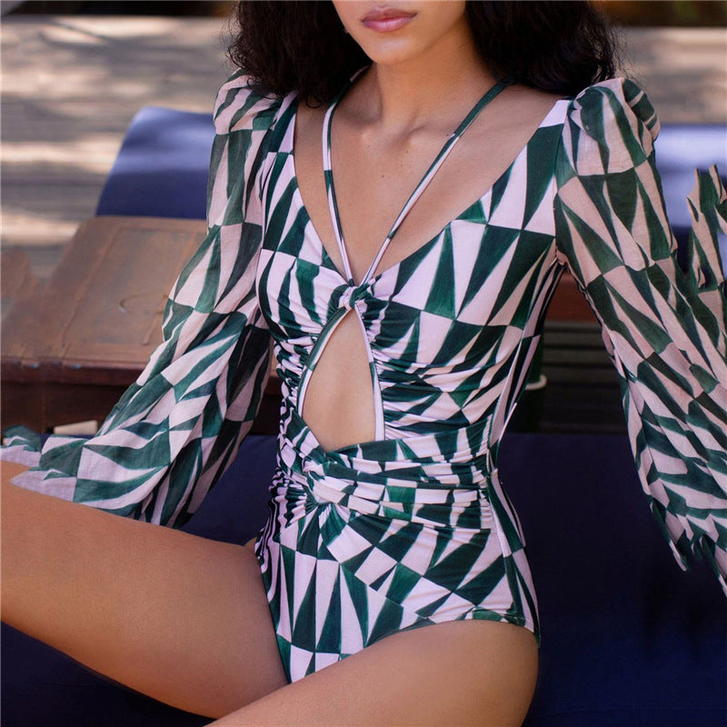 Printed swimsuit with long sleeves - Direct Dropship