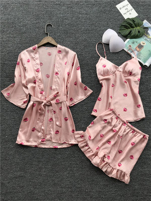 Pajamas women's summer thin section ice silk sling shorts robe three-piece Japanese sweet belt chest pad strawberry pajamas - Direct Dropship