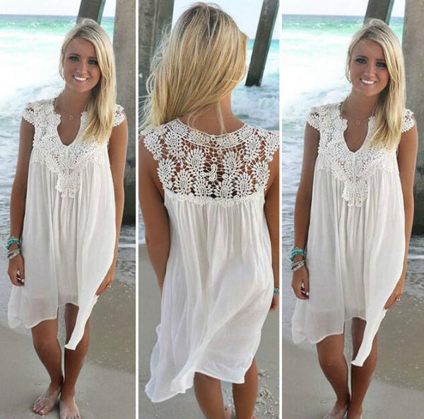 sexy women dress in chiffon sleeve dress is casual tunic off white lace dress lady stoning the size range - Direct Dropship