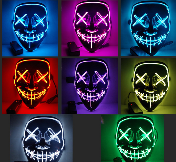 Black V Halloween Horror Glowing Mask - Direct Dropship
