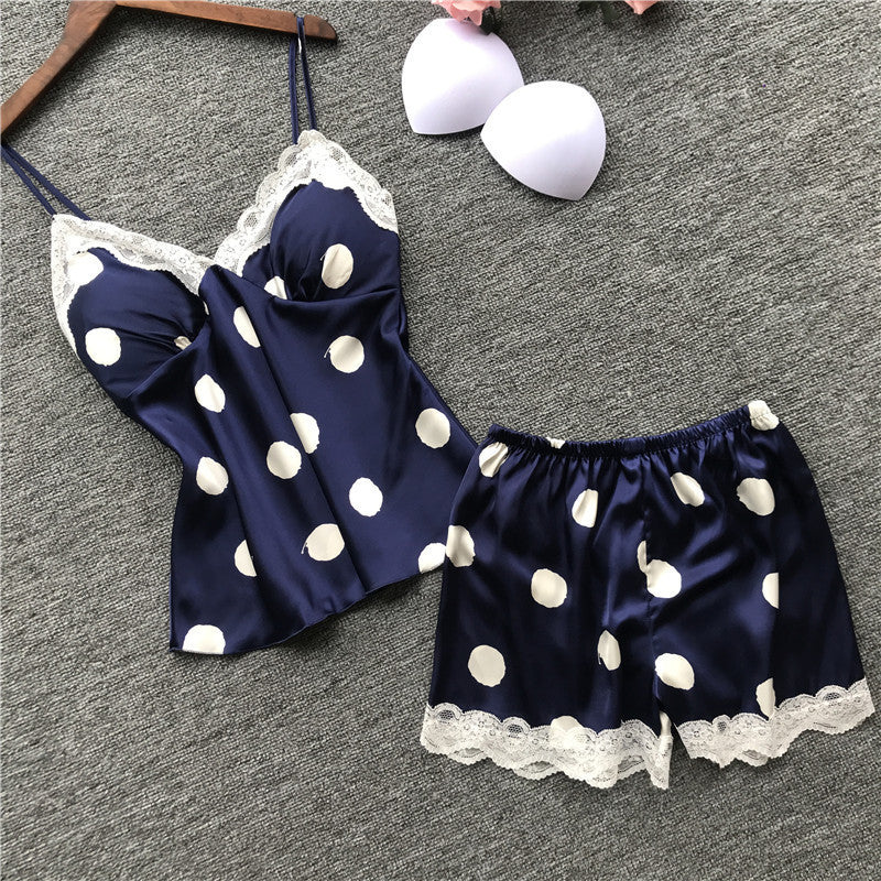 Lace Polka Dot Cuff Shorts - Direct Dropship