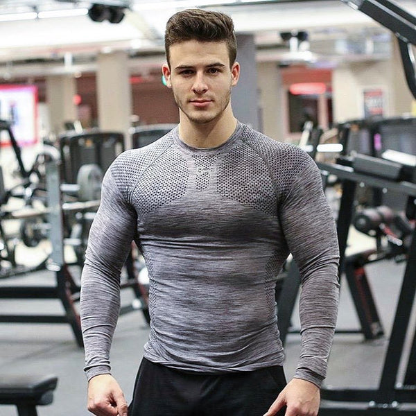 Long-sleeved tights fitness clothes sports tops high-elastic breathable round neck training suits bottoming shirt men's quick-drying clothes - Direct Dropship