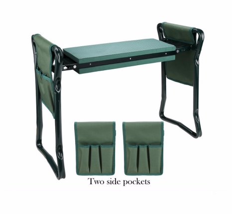Foldable Outdoor Lawn Bench Chair With Tool Pouch Garden Rest - Direct Dropship
