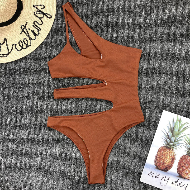 Sexy irregular stitching cutout one-piece bikini - Direct Dropship