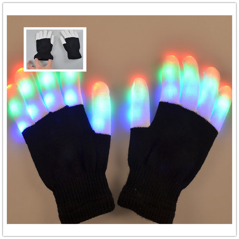 Dance glowing glove, colorful dress props, props, glitter and make-up dress LED light Halloween Christmas goods - Direct Dropship