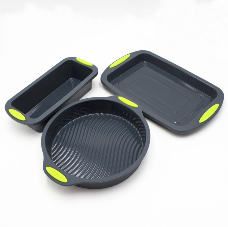To encounter Square Quadrate Shape Round Shape Silicone Baking Cake Mold DIY Toast Bread Pans Cake Dishes Tray 2 in Package - Direct Dropship