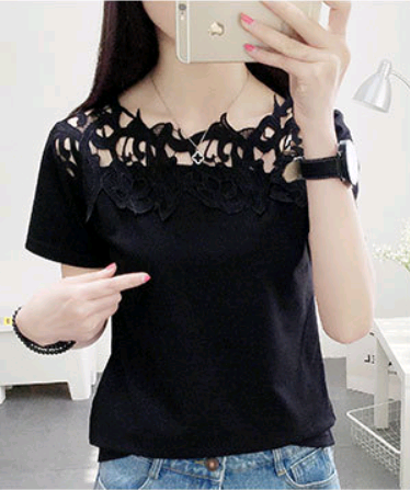 Hollow hook flower temperament ladies large size short-sleeved shirt - Direct Dropship