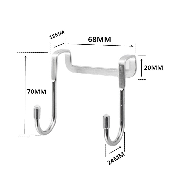 Stainless steel S-type hook kitchen cabinet door double hook bathroom hook dormitory bedside metal S-shaped hook - Direct Dropship