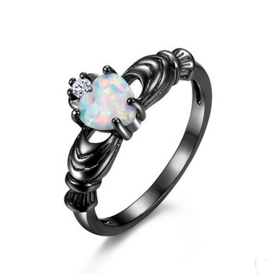 Black European and merican Heart Shaped treasure ring, female opal black gold jewelry. - Direct Dropship