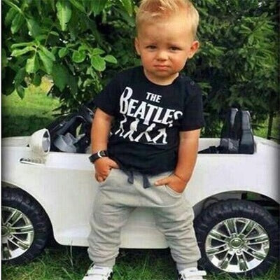 Boy's cotton two-piece set Letter print T-shirt + trousers baby suit - Direct Dropship
