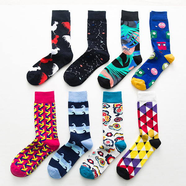 British wind geometry hit color trend men's socks - Direct Dropship