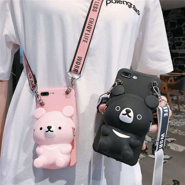 Cute bear coin purse phone case - Direct Dropship