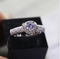 Flower Ring Women's Platinum Rose Petals Vintage Luxurious Simulation Diamond Group with Moissanite Diamond Ring - Direct Dropship