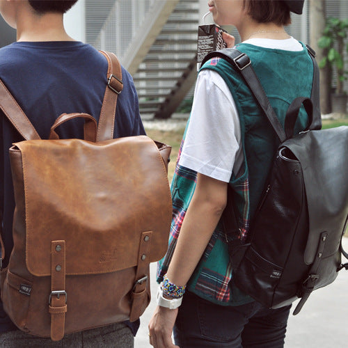 Retro Leather Backpack stylish men and women Backpack School Bag wind Korean high school students - Direct Dropship