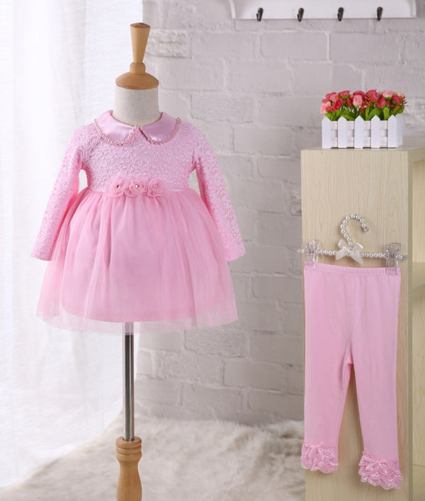 Baby 100 day pearl collar dress, one year old princess dress, baby 100 year dress, dress with pants two sets - Direct Dropship