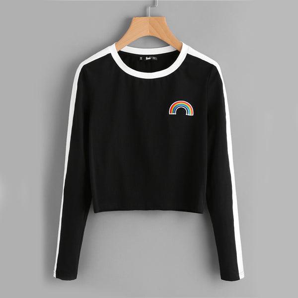 Rainbow Patch Cute T-shirt Contrast Panel Crop Top Women Casual Color Block Tops Autumn New Long Sleeve Brief T-shirt - Direct Dropship