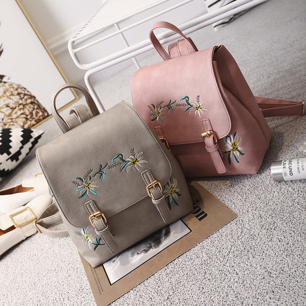 Embroidered Folk style fashion leather backpack - Direct Dropship