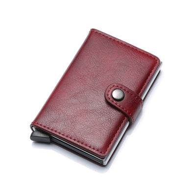 RFID Anti-theft Men Vintage Wallet Aluminum Metal Purse Leather Cover - Direct Dropship