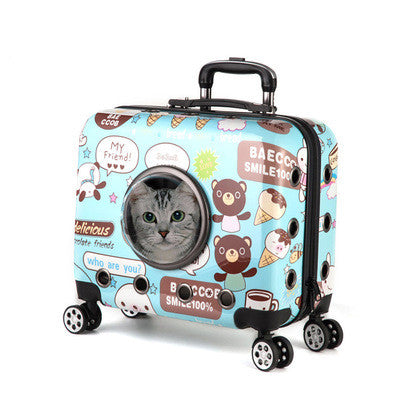 18 inch pet trolley case out portable pet backpack cat small pet backpack universal wheel trolley bag - Direct Dropship