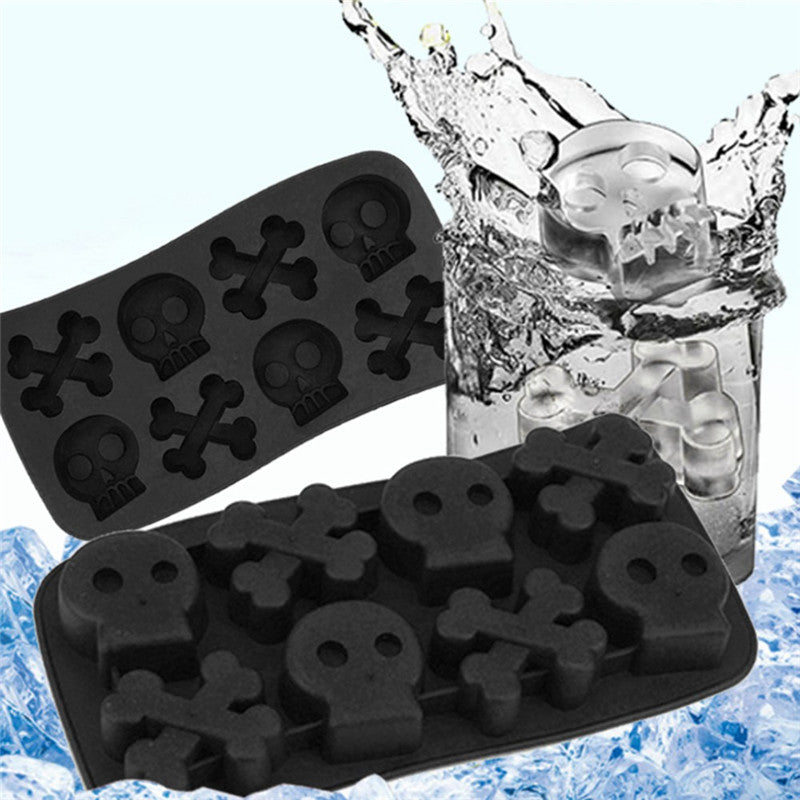 Shantou Ice Cube Creative Ice Cube Mould TPR Ice Mold Halloween Skull Ice Cube (Black) - Direct Dropship