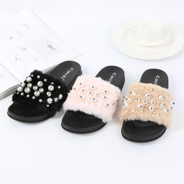 Factory wholesale imitation plush slippers in autumn fashion home warm shoes Beaded lady Mao Maoxie - Direct Dropship