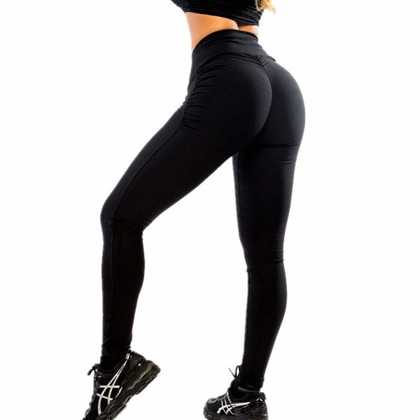 Autumn and winter new women's sports running trousers high waist pleated breathable tight high waist yoga pants - Direct Dropship