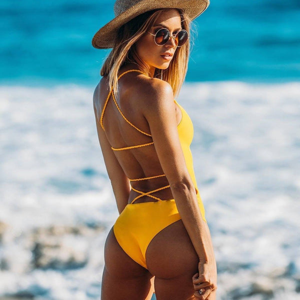 Backless bikini yellow Multi Rope swimwear Brazilian One Piece swimwear - Direct Dropship