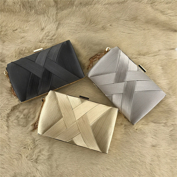 Dinner Satin Fashion Tassel Clutch - Direct Dropship
