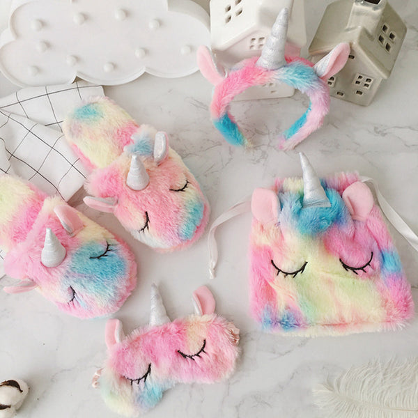 Couple cartoon Plush Unicorn cotton slippers - Direct Dropship