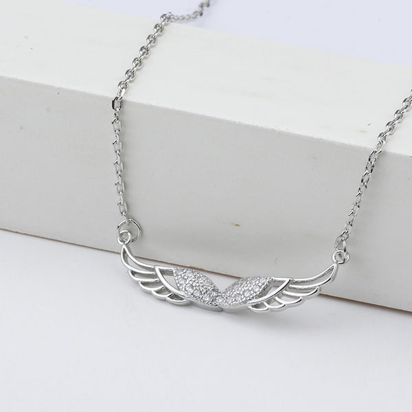 Symmetrical Wing Pendant trend beautiful necklace (Silver) - Direct Dropship