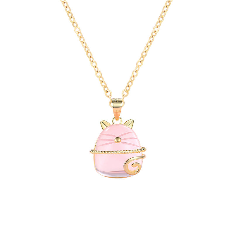 Pink Crystal Lucky Cat Pendant - Direct Dropship