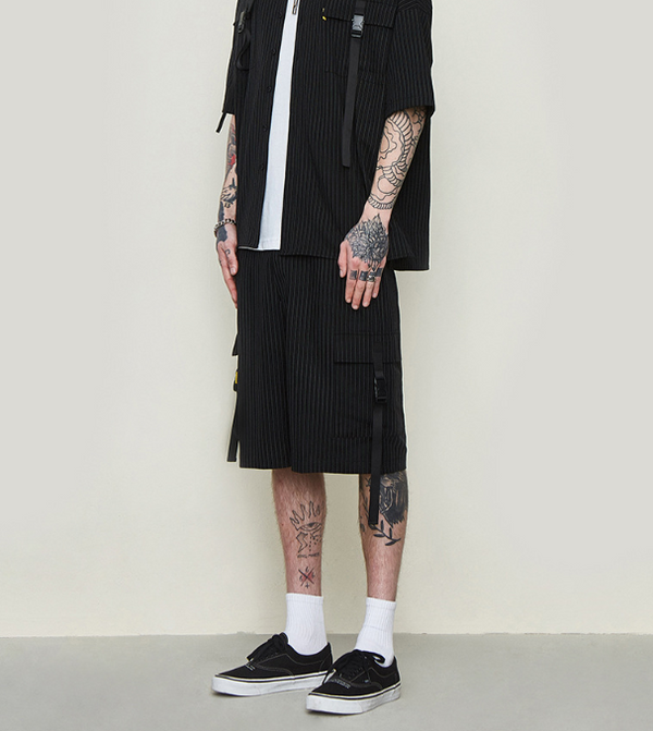 Striped streamer stitching trousers shorts - Direct Dropship