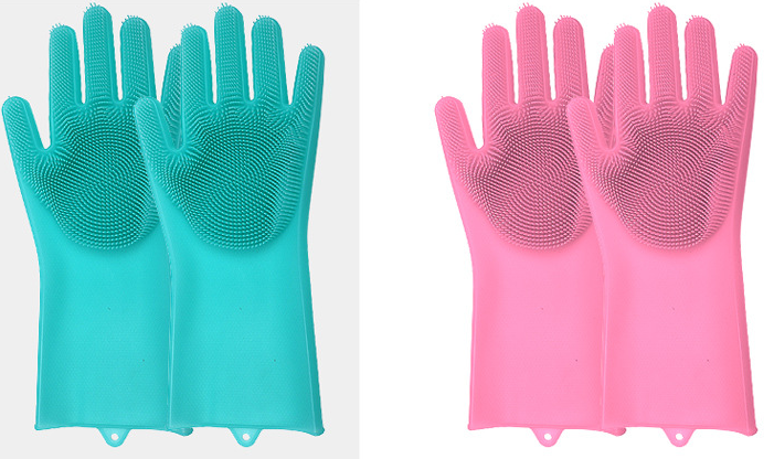 Silicone Cleaning Brush Scrubber Gloves Heat Resistant, Great for Dish wash, Cleaning, Pet hair care (Mint) - Direct Dropship
