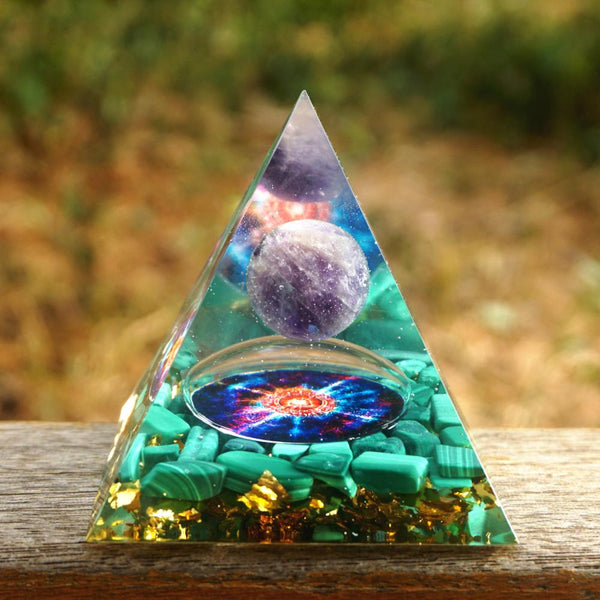 HANDMADE 60MM Orgonite Pyramid Amethyst Sphere With Malachite Natural Crystal EMF Protection Orgone Energy Reiki Chakra