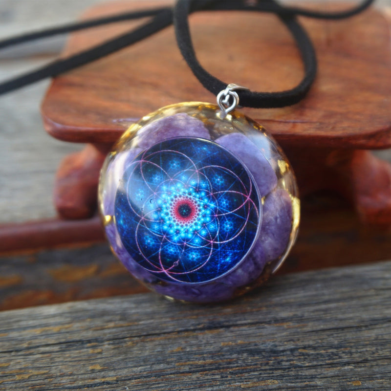 HANDMADE Orgone Pendant ~Charoite Crystal Stone EMF Protection Crystal Healing Reiki Meditation Tool Jewelry Orgonite