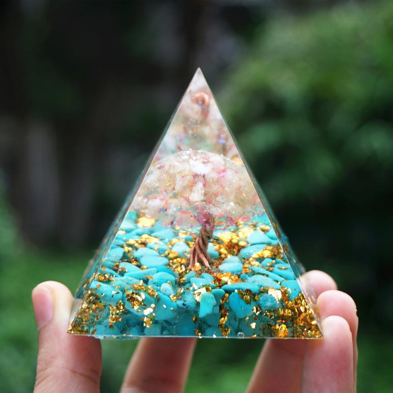 Tree of Life Orgonite Pyramid Citrine Quartz&Gold Foil With Turquoise Crystal Reiki Energy Orgone Pyramide Collection