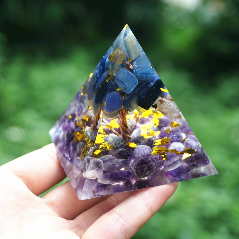 Tree of Life Orgonite Pyramid Kyanite Quartz With Amethyst Crystal Reiki Energy Orgone Pyramide Collection EMF Protection