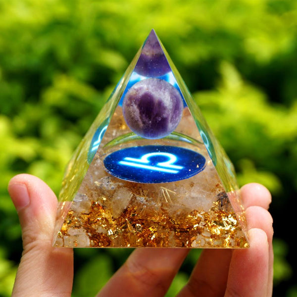 Amethyst Crystal Sphere Zodiac Orgone Pyramid LIBRA Geometry Pattern with Rutilated Quartz Stone Orgonite EMF Protection