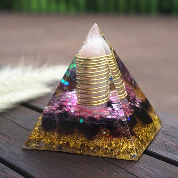 7CM Large Rose Quartz Pillar Orgonite Pyramid with Amethyst Crystal Pyramide Powerful Reiki Energy Orgone Pyramide Collection