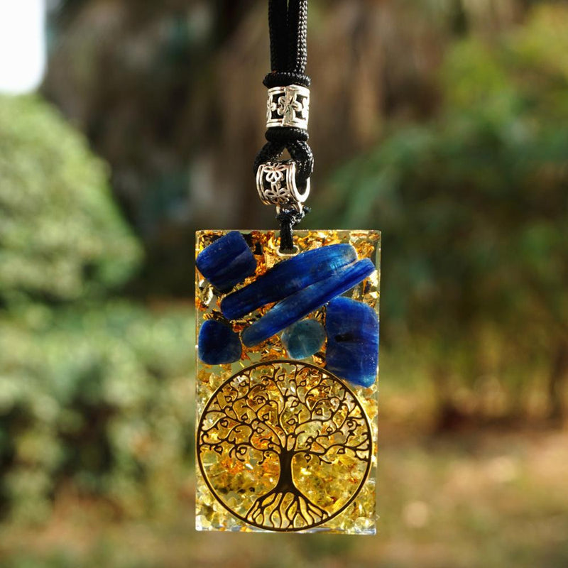 Tree Of Life Orgonite Pendant Kyanite With Peridot Orgone Necklace Energy Circle Healing Crystal Chakra Reiki EMF Protection